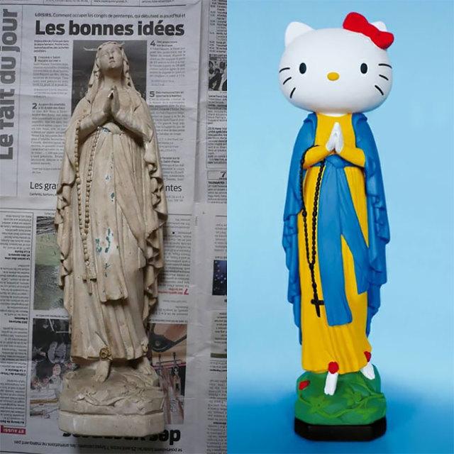 你要不要信教?法國藝術家將破損的聖母瑪麗亞雕像,改造為現代人才懂的流行藝術