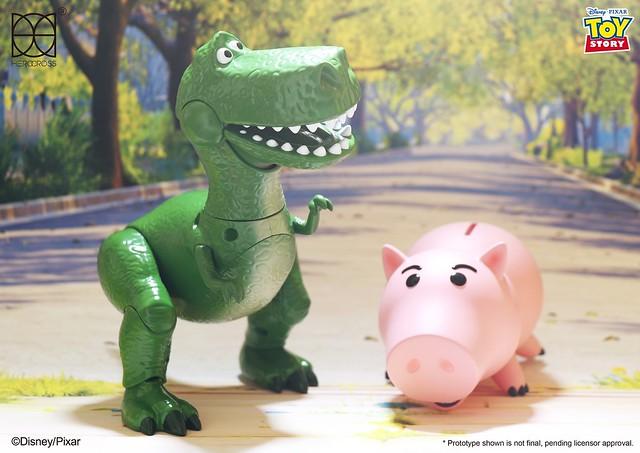 更多新夥伴加入~這次是膽小恐龍跟邪惡豬排博士!HEROCROSS H.M.F. 系列《玩具總動員》抱抱龍和火腿 Rex and Hamm HMF#080
